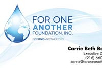 Carrie Beth For One Another Foundation business card